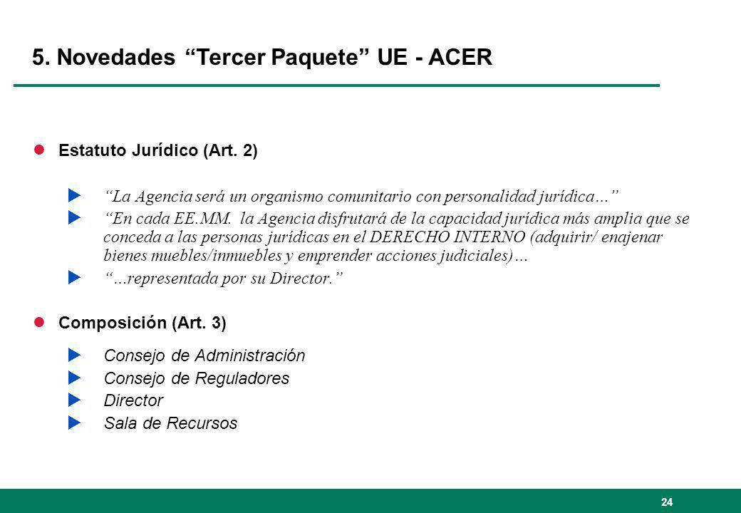 24 5. Novedades Tercer Paquete UE - ACER lEstatuto Jurídico (Art. 2) La Agencia será un organismo comunitario con personalidad jurídica… En cada EE.MM
