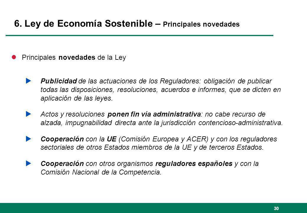 6. Ley de Economía Sostenible – Principales novedades lPrincipales novedades de la Ley Publicidad de las actuaciones de los Reguladores: obligación de