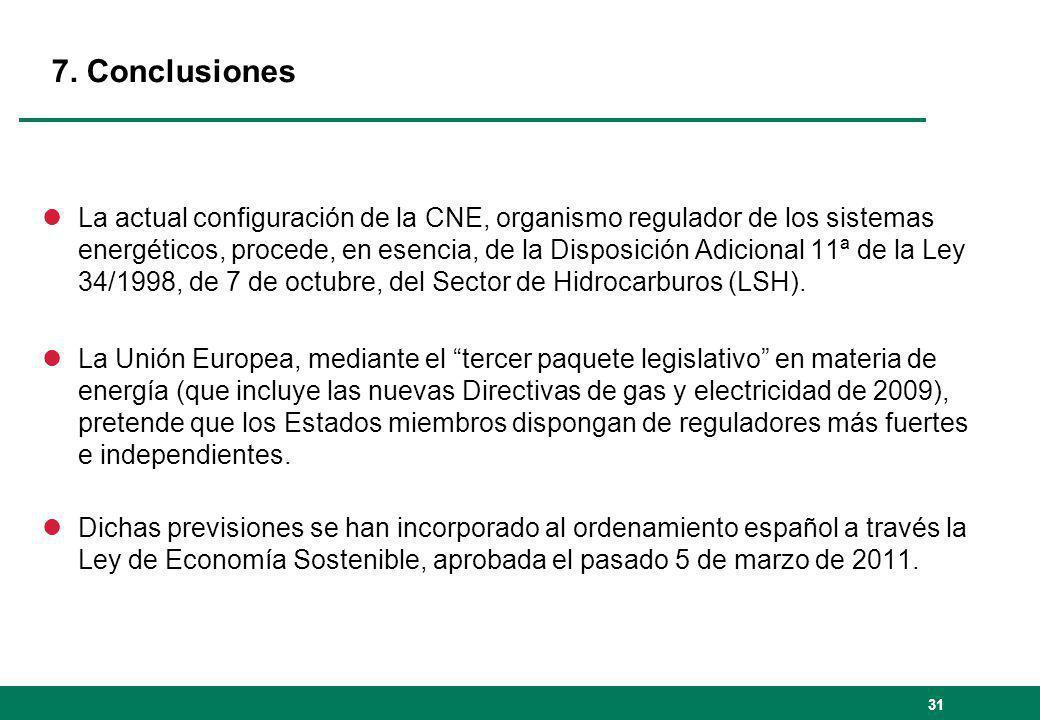 31 lLa actual configuración de la CNE, organismo regulador de los sistemas energéticos, procede, en esencia, de la Disposición Adicional 11ª de la Ley