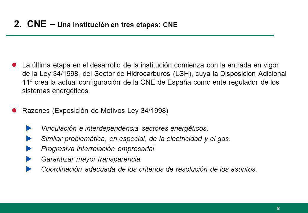 2. CNE – Una institución en tres etapas: CNE lLa última etapa en el desarrollo de la institución comienza con la entrada en vigor de la Ley 34/1998, d