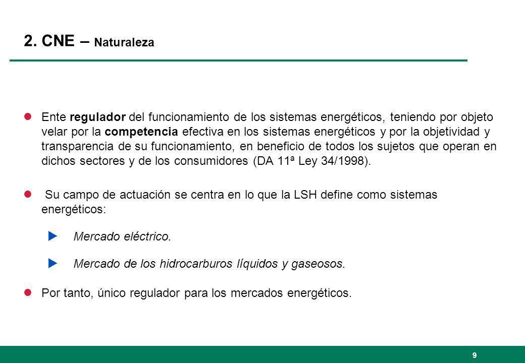 2. CNE – Naturaleza lEnte regulador del funcionamiento de los sistemas energéticos, teniendo por objeto velar por la competencia efectiva en los siste