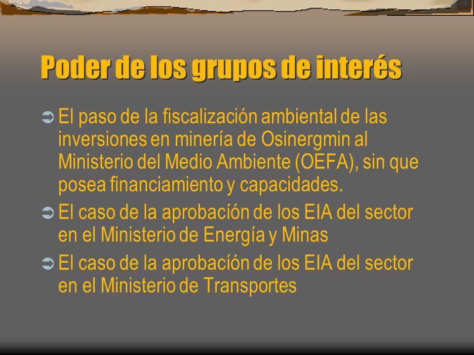 Poder de los grupos de interés El paso de la fiscalización ambiental de las inversiones en minería de Osinergmin al Ministerio del Medio Ambiente (OEF