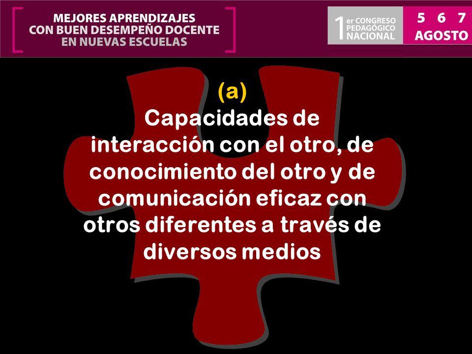 (a) Capacidades de interacción con el otro, de conocimiento del otro y de comunicación eficaz con otros diferentes a través de diversos medios