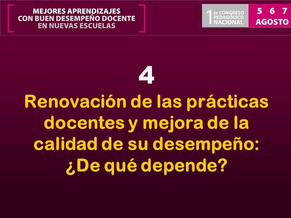 4 Renovación de las prácticas docentes y mejora de la calidad de su desempeño: ¿De qué depende?