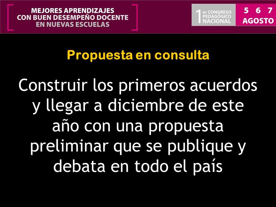 Propuesta en consulta Construir los primeros acuerdos y llegar a diciembre de este año con una propuesta preliminar que se publique y debata en todo e