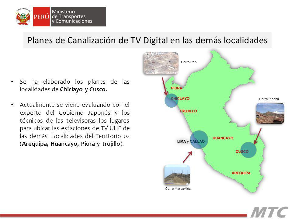 Se ha elaborado los planes de las localidades de Chiclayo y Cusco.
