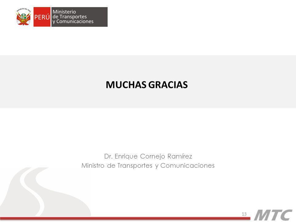 MUCHAS GRACIAS Dr. Enrique Cornejo Ramírez Ministro de Transportes y Comunicaciones 13