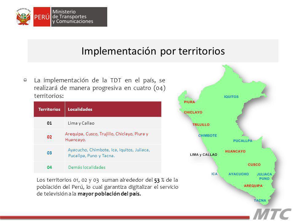 La implementación de la TDT en el país, se realizará de manera progresiva en cuatro (04) territorios: Implementación por territorios TerritoriosLocalidades 01Lima y Callao 02 Arequipa, Cusco, Trujillo, Chiclayo, Piura y Huancayo.