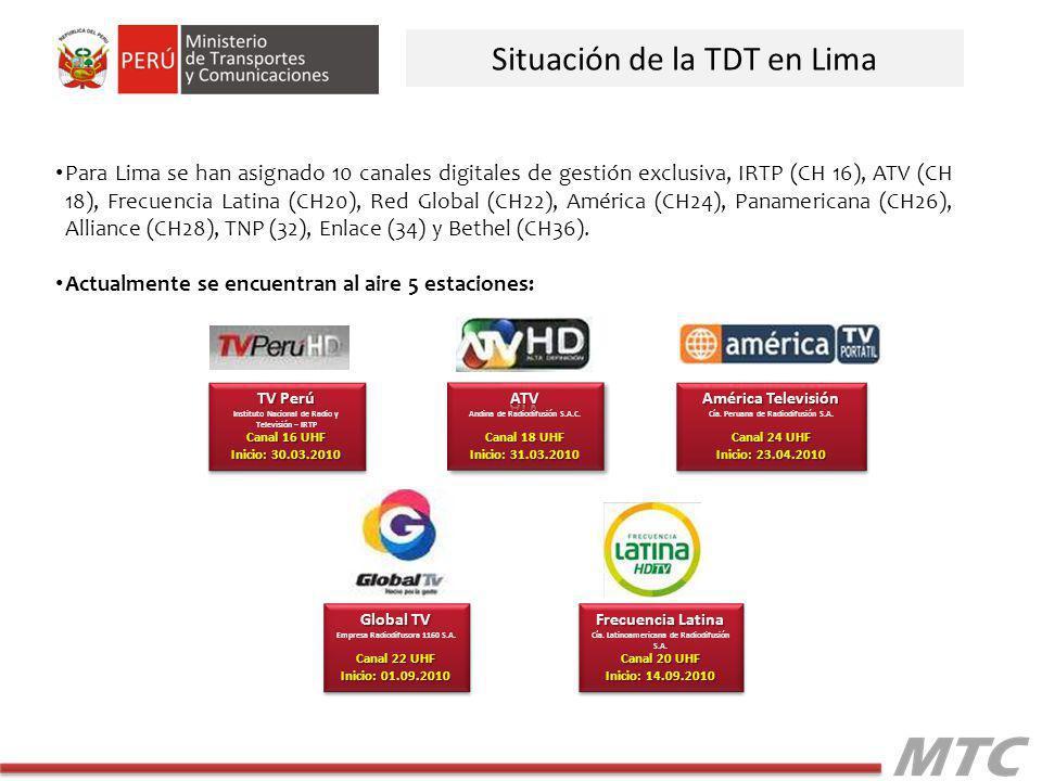 Situación de la TDT en Lima Para Lima se han asignado 10 canales digitales de gestión exclusiva, IRTP (CH 16), ATV (CH 18), Frecuencia Latina (CH20), Red Global (CH22), América (CH24), Panamericana (CH26), Alliance (CH28), TNP (32), Enlace (34) y Bethel (CH36).