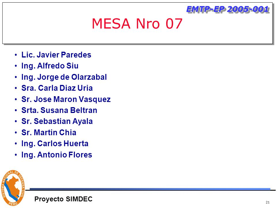 21 MESA Nro 07 Lic. Javier Paredes Ing. Alfredo Siu Ing.