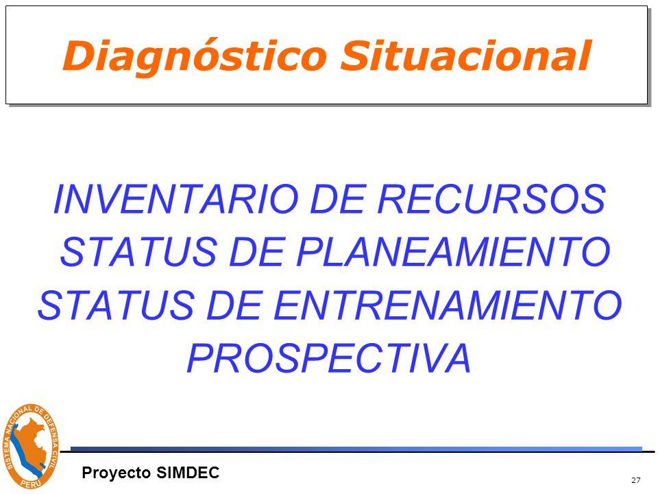 27 Diagnóstico Situacional INVENTARIO DE RECURSOS STATUS DE PLANEAMIENTO STATUS DE ENTRENAMIENTO PROSPECTIVA Proyecto SIMDEC