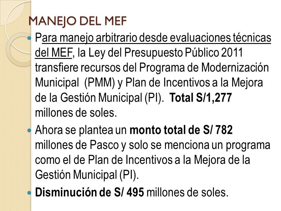 MANEJO DEL MEF Para manejo arbitrario desde evaluaciones técnicas del MEF, la Ley del Presupuesto Público 2011 transfiere recursos del Programa de Mod