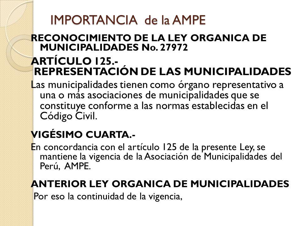 PIONERA de MAYOR EXPERIENCIA DEL CONTEXTO NACIONAL en el PERU La AMPE fundada el 1° de marzo de 1982, desde entonces significa una experiencia asociativa importante y del contexto nacional, representa a las municipalidades en el Perú, en: - Foro del Acuerdo Nacional - Mesa de Concertación de Lucha contra la Pobreza - Comisión de Alto Nivel de Anticorrupción - Otras 10 a 12 consejos y comisiones - Gestión de participar en el CONASEC, en el CEPLAN