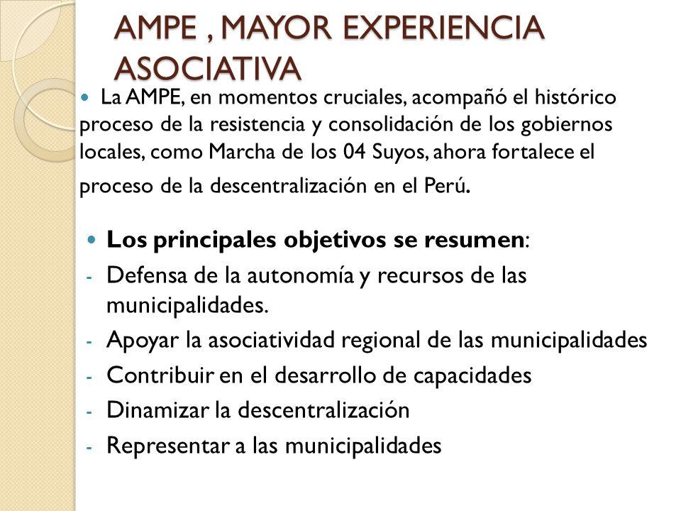 AMPE, MAYOR EXPERIENCIA ASOCIATIVA La AMPE, en momentos cruciales, acompañó el histórico proceso de la resistencia y consolidación de los gobiernos lo