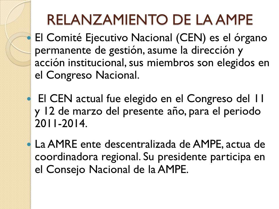 RELANZAMIENTO DE LA AMPE El Comité Ejecutivo Nacional (CEN) es el órgano permanente de gestión, asume la dirección y acción institucional, sus miembro