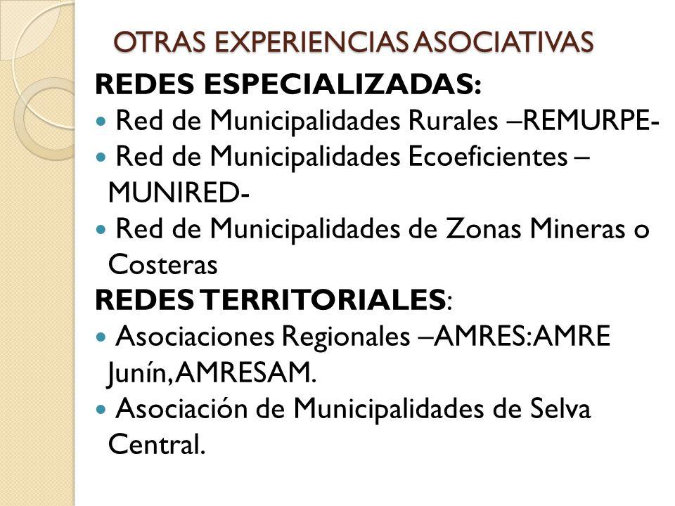 OTRAS EXPERIENCIAS ASOCIATIVAS REDES ESPECIALIZADAS: Red de Municipalidades Rurales –REMURPE- Red de Municipalidades Ecoeficientes – MUNIRED- Red de M