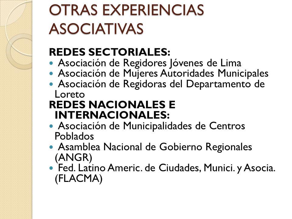 OTRAS EXPERIENCIAS ASOCIATIVAS REDES SECTORIALES: Asociación de Regidores Jóvenes de Lima Asociación de Mujeres Autoridades Municipales Asociación de