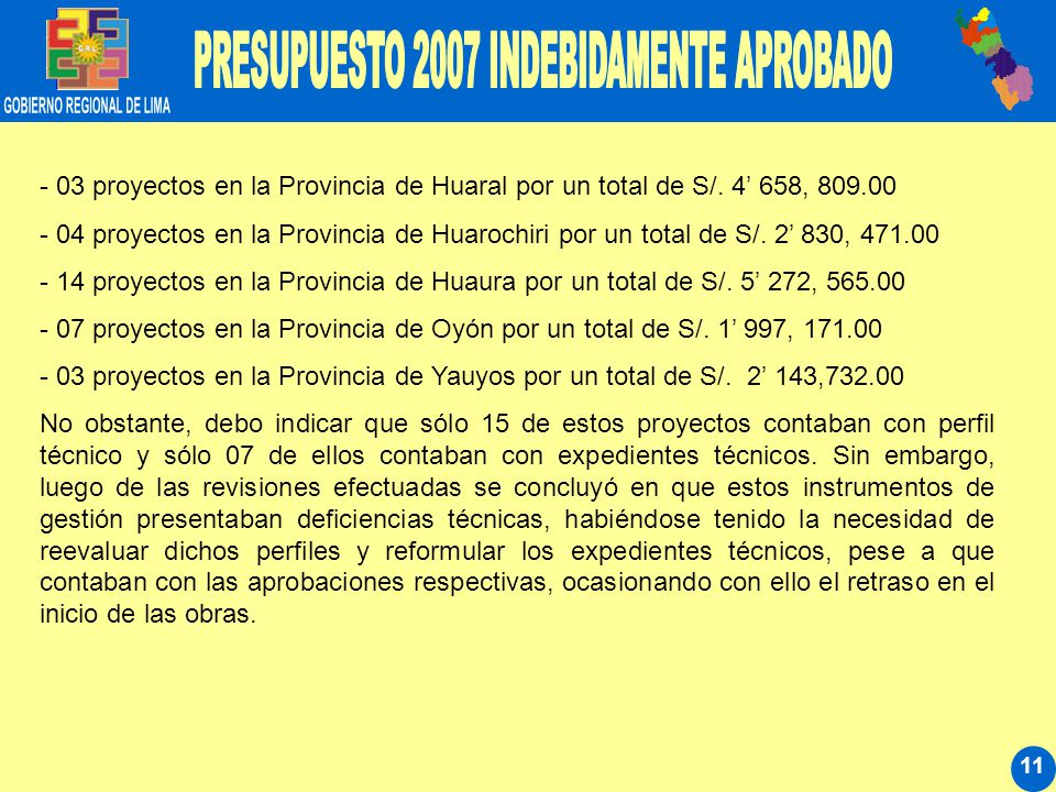 11 - 03 proyectos en la Provincia de Huaral por un total de S/. 4 658, 809.00 - 04 proyectos en la Provincia de Huarochiri por un total de S/. 2 830,