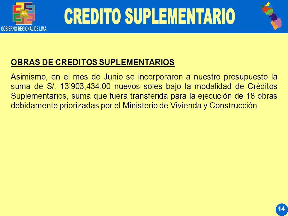 14 OBRAS DE CREDITOS SUPLEMENTARIOS Asimismo, en el mes de Junio se incorporaron a nuestro presupuesto la suma de S/. 13903,434.00 nuevos soles bajo l