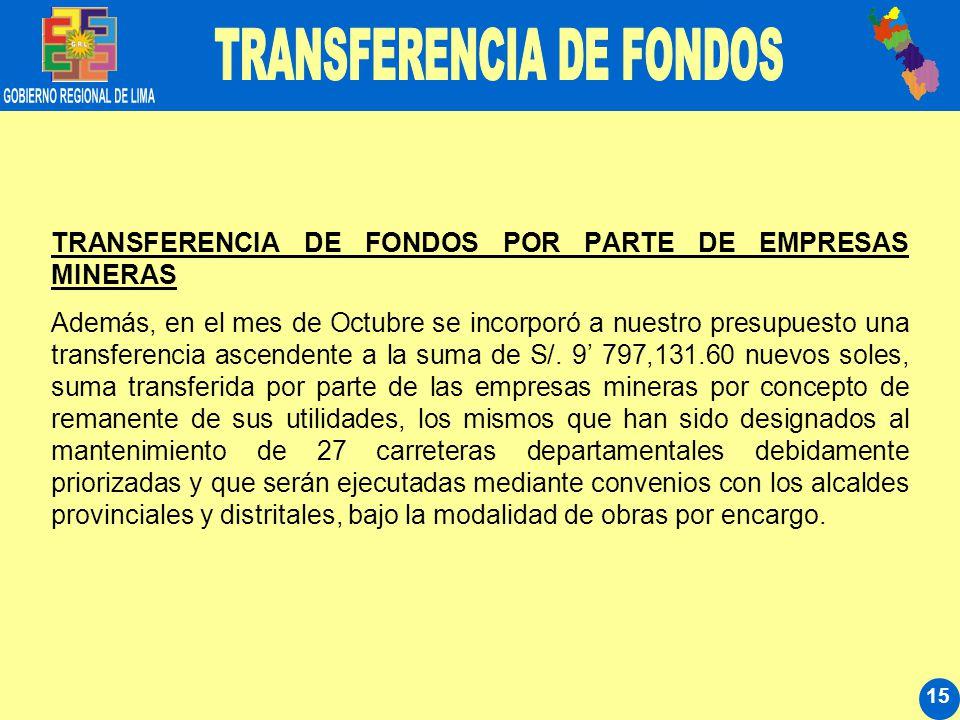 15 TRANSFERENCIA DE FONDOS POR PARTE DE EMPRESAS MINERAS Además, en el mes de Octubre se incorporó a nuestro presupuesto una transferencia ascendente a la suma de S/.