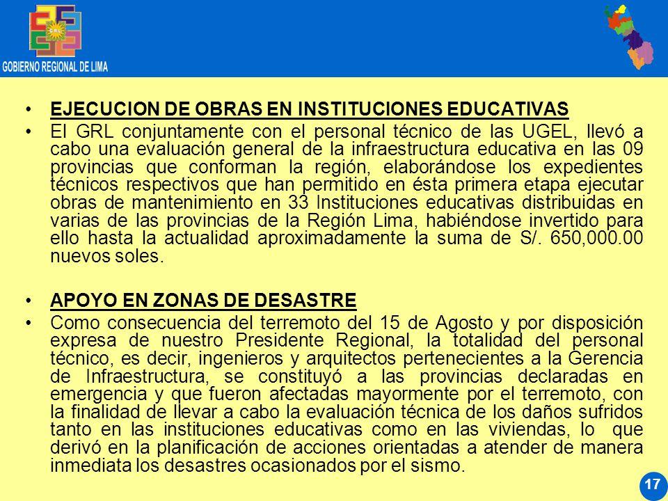 17 EJECUCION DE OBRAS EN INSTITUCIONES EDUCATIVAS El GRL conjuntamente con el personal técnico de las UGEL, llevó a cabo una evaluación general de la infraestructura educativa en las 09 provincias que conforman la región, elaborándose los expedientes técnicos respectivos que han permitido en ésta primera etapa ejecutar obras de mantenimiento en 33 Instituciones educativas distribuidas en varias de las provincias de la Región Lima, habiéndose invertido para ello hasta la actualidad aproximadamente la suma de S/.