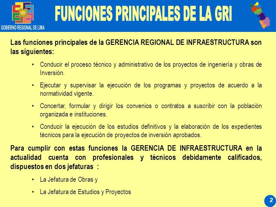 2 Las funciones principales de la GERENCIA REGIONAL DE INFRAESTRUCTURA son las siguientes: Conducir el proceso técnico y administrativo de los proyectos de ingeniería y obras de Inversión.
