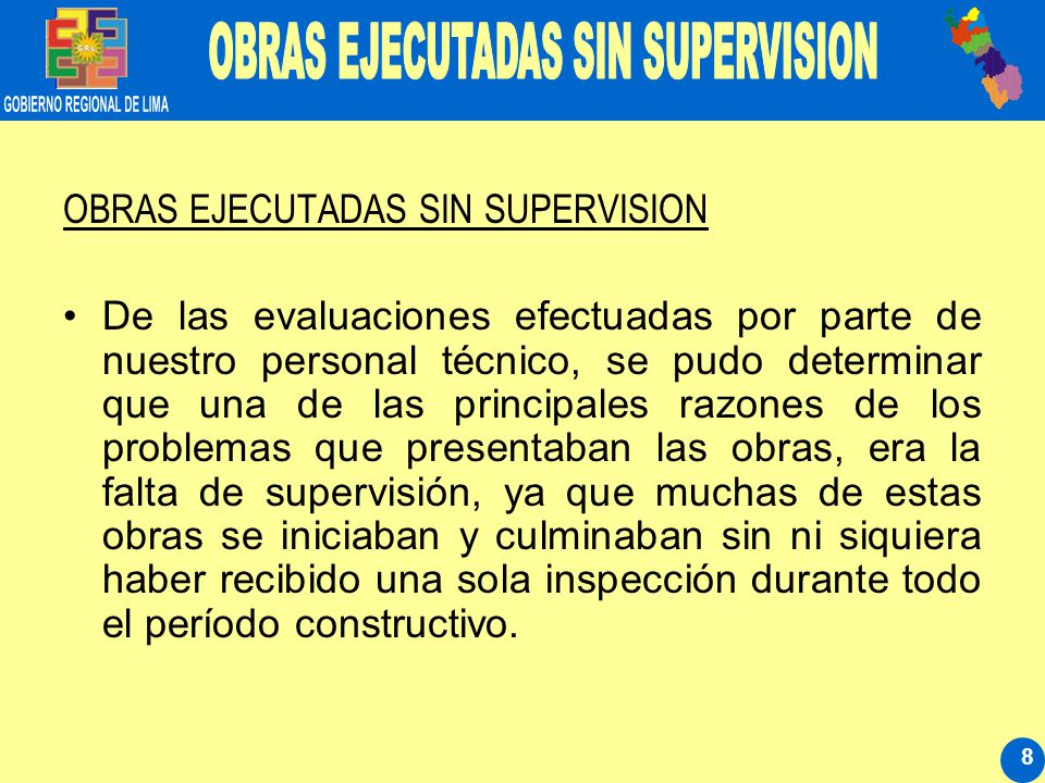 19 DE LOS CUADROS QUE SE DETALLAN SE PUEDE APRECIAR QUE EN PROYECCION AL MES DE MARZO DEL 2008 EL GRL HABRA CUMPLIDO CON LA EJECUCION DE 126 OBRAS DISTRIBUIDAS EN TODAS LAS 09 PROVINCIAS.