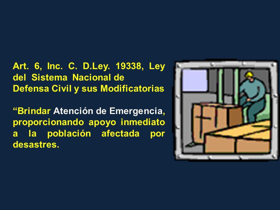 Art. 6, Inc. C. D.Ley. 19338, Ley del Sistema Nacional de Defensa Civil y sus Modificatorias Brindar Atención de Emergencia, proporcionando apoyo inme