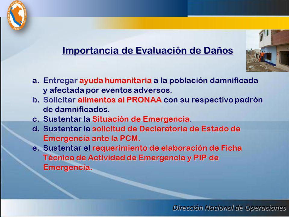 Dirección Nacional de Operaciones Importancia de Evaluación de Daños a.Entregar ayuda humanitaria a la población damnificada y afectada por eventos ad