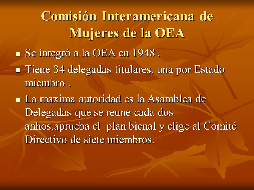 Comisión Interamericana de Mujeres de la OEA Se integró a la OEA en 1948. Se integró a la OEA en 1948. Tiene 34 delegadas titulares, una por Estado mi