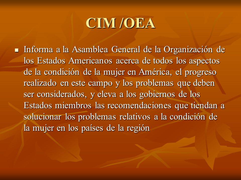 CIM /OEA Informa a la Asamblea General de la Organización de los Estados Americanos acerca de todos los aspectos de la condición de la mujer en Améric