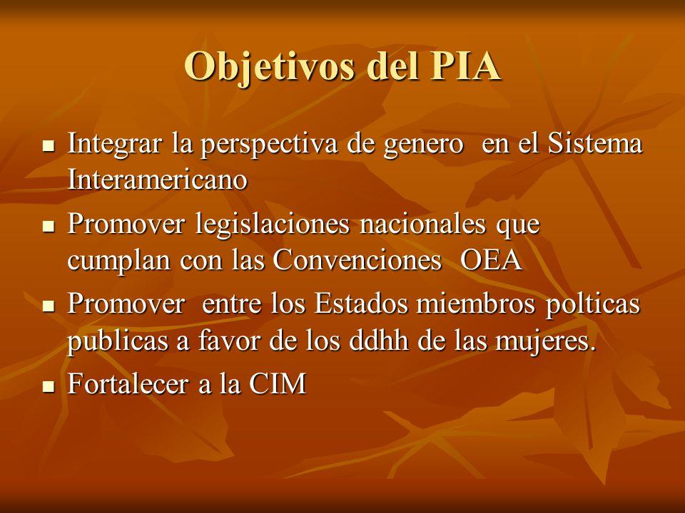 Objetivos del PIA Integrar la perspectiva de genero en el Sistema Interamericano Integrar la perspectiva de genero en el Sistema Interamericano Promov