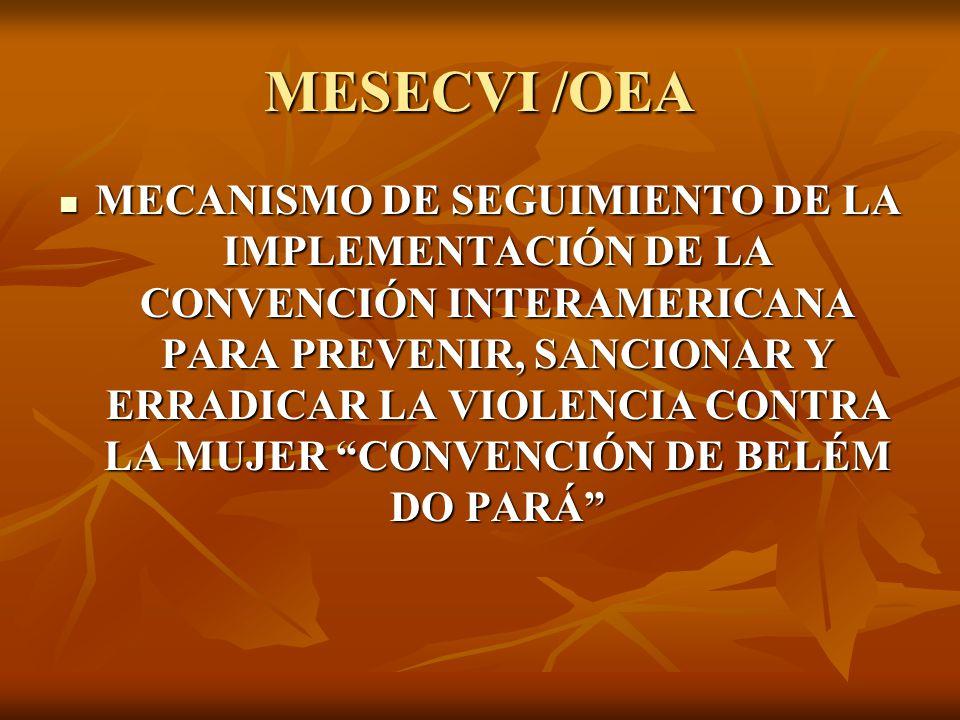 MESECVI /OEA MECANISMO DE SEGUIMIENTO DE LA IMPLEMENTACIÓN DE LA CONVENCIÓN INTERAMERICANA PARA PREVENIR, SANCIONAR Y ERRADICAR LA VIOLENCIA CONTRA LA MUJER CONVENCIÓN DE BELÉM DO PARÁ MECANISMO DE SEGUIMIENTO DE LA IMPLEMENTACIÓN DE LA CONVENCIÓN INTERAMERICANA PARA PREVENIR, SANCIONAR Y ERRADICAR LA VIOLENCIA CONTRA LA MUJER CONVENCIÓN DE BELÉM DO PARÁ