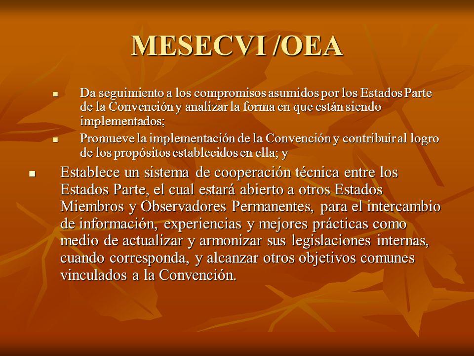 MESECVI /OEA Da seguimiento a los compromisos asumidos por los Estados Parte de la Convención y analizar la forma en que están siendo implementados; Da seguimiento a los compromisos asumidos por los Estados Parte de la Convención y analizar la forma en que están siendo implementados; Promueve la implementación de la Convención y contribuir al logro de los propósitos establecidos en ella; y Promueve la implementación de la Convención y contribuir al logro de los propósitos establecidos en ella; y Establece un sistema de cooperación técnica entre los Estados Parte, el cual estará abierto a otros Estados Miembros y Observadores Permanentes, para el intercambio de información, experiencias y mejores prácticas como medio de actualizar y armonizar sus legislaciones internas, cuando corresponda, y alcanzar otros objetivos comunes vinculados a la Convención.