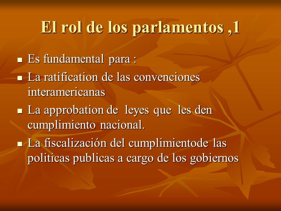 El rol de los parlamentos,1 Es fundamental para : Es fundamental para : La ratification de las convenciones interamericanas La ratification de las con