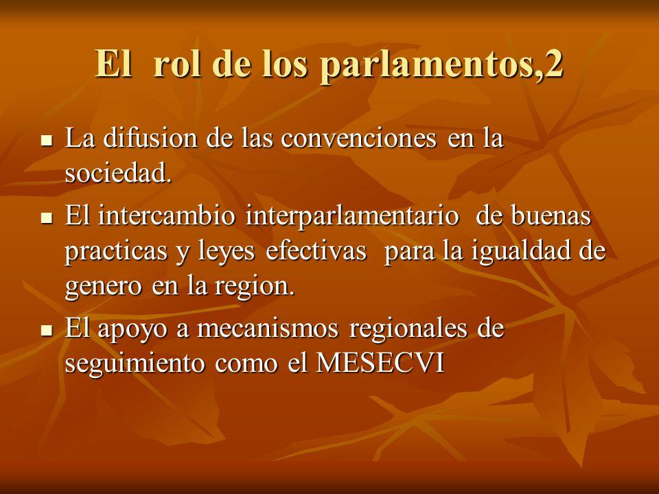 El rol de los parlamentos,2 La difusion de las convenciones en la sociedad. La difusion de las convenciones en la sociedad. El intercambio interparlam