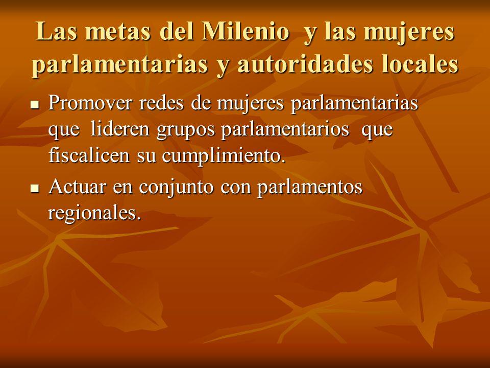 Las metas del Milenio y las mujeres parlamentarias y autoridades locales Promover redes de mujeres parlamentarias que lideren grupos parlamentarios que fiscalicen su cumplimiento.