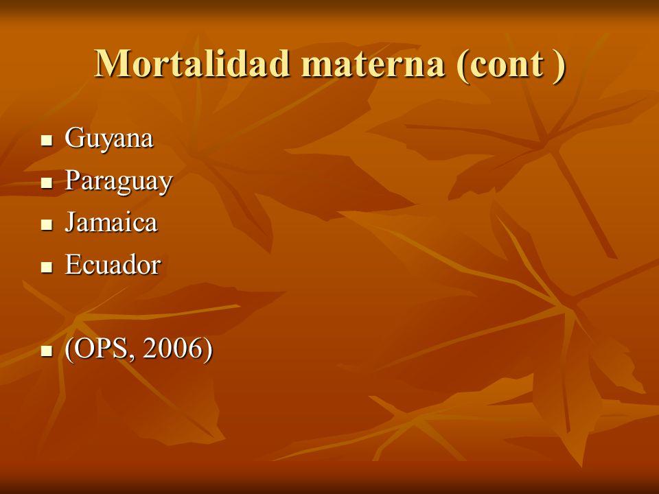 Mortalidad materna (cont ) Guyana Guyana Paraguay Paraguay Jamaica Jamaica Ecuador Ecuador (OPS, 2006) (OPS, 2006)