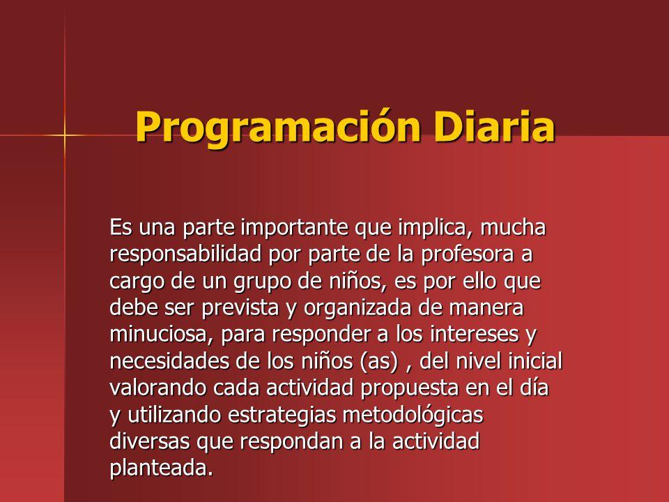 Programación Diaria Es una parte importante que implica, mucha responsabilidad por parte de la profesora a cargo de un grupo de niños, es por ello que