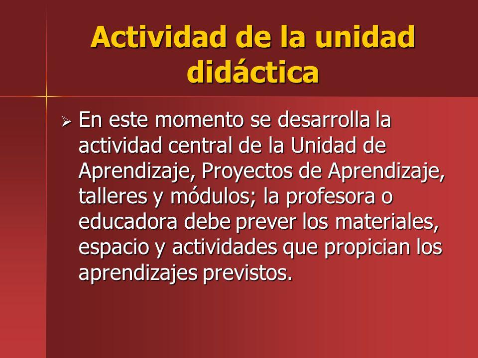 Actividad de la unidad didáctica En este momento se desarrolla la actividad central de la Unidad de Aprendizaje, Proyectos de Aprendizaje, talleres y