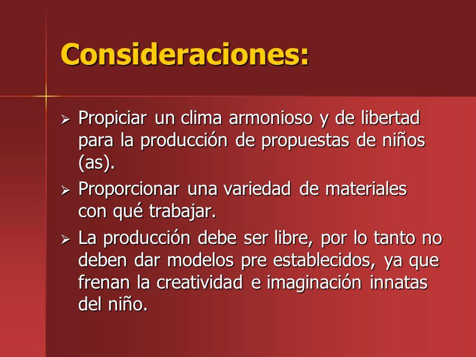 Consideraciones: Propiciar un clima armonioso y de libertad para la producción de propuestas de niños (as). Propiciar un clima armonioso y de libertad