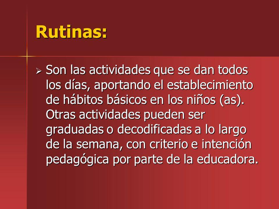 Rutinas: Son las actividades que se dan todos los días, aportando el establecimiento de hábitos básicos en los niños (as). Otras actividades pueden se