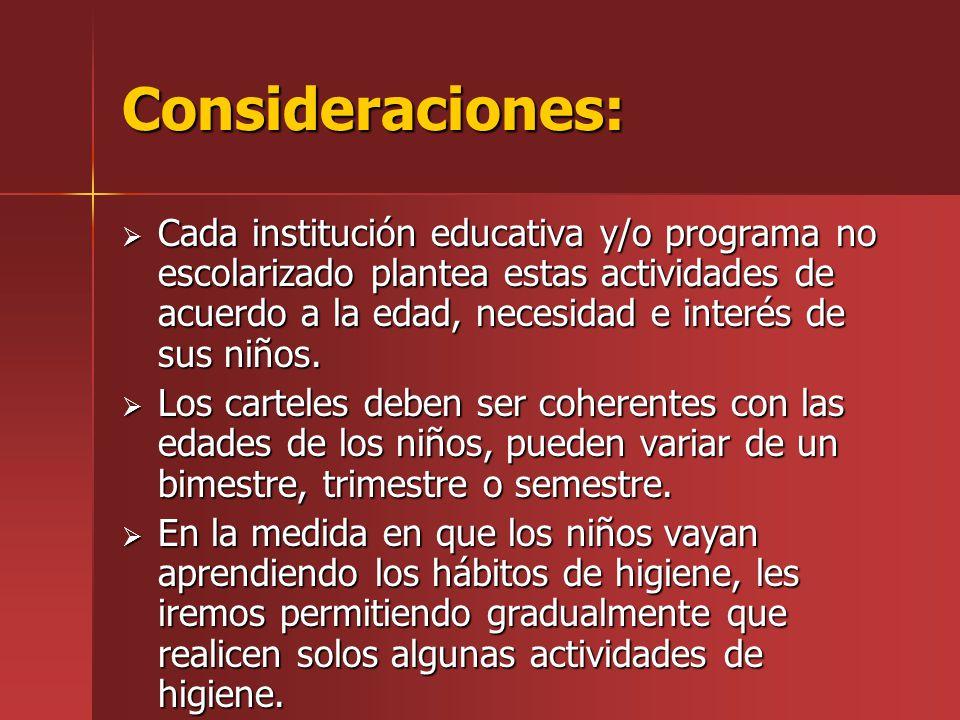 Consideraciones: Cada institución educativa y/o programa no escolarizado plantea estas actividades de acuerdo a la edad, necesidad e interés de sus ni