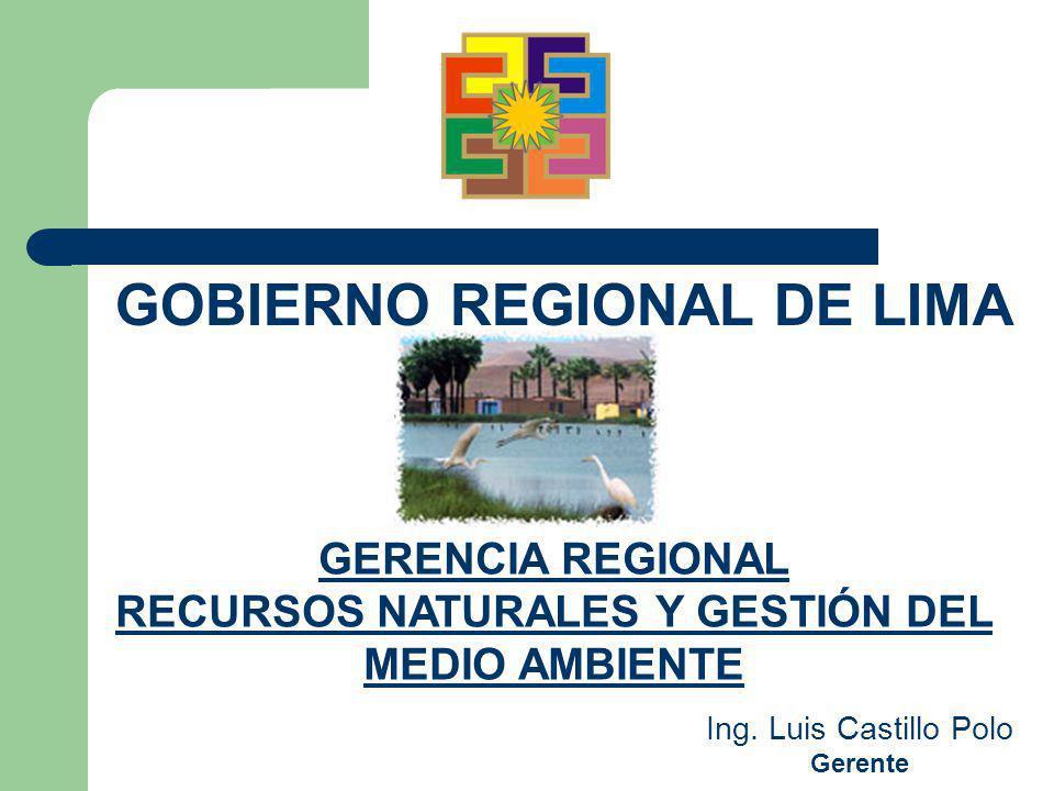 GERENCIA REGIONAL RECURSOS NATURALES Y GESTIÓN DEL MEDIO AMBIENTE GOBIERNO REGIONAL DE LIMA Ing. Luis Castillo Polo Gerente