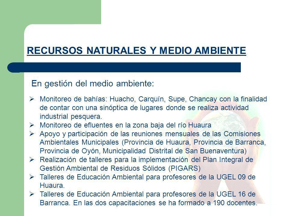En gestión del medio ambiente: RECURSOS NATURALES Y MEDIO AMBIENTE Monitoreo de bahías: Huacho, Carquín, Supe, Chancay con la finalidad de contar con una sinóptica de lugares donde se realiza actividad industrial pesquera.