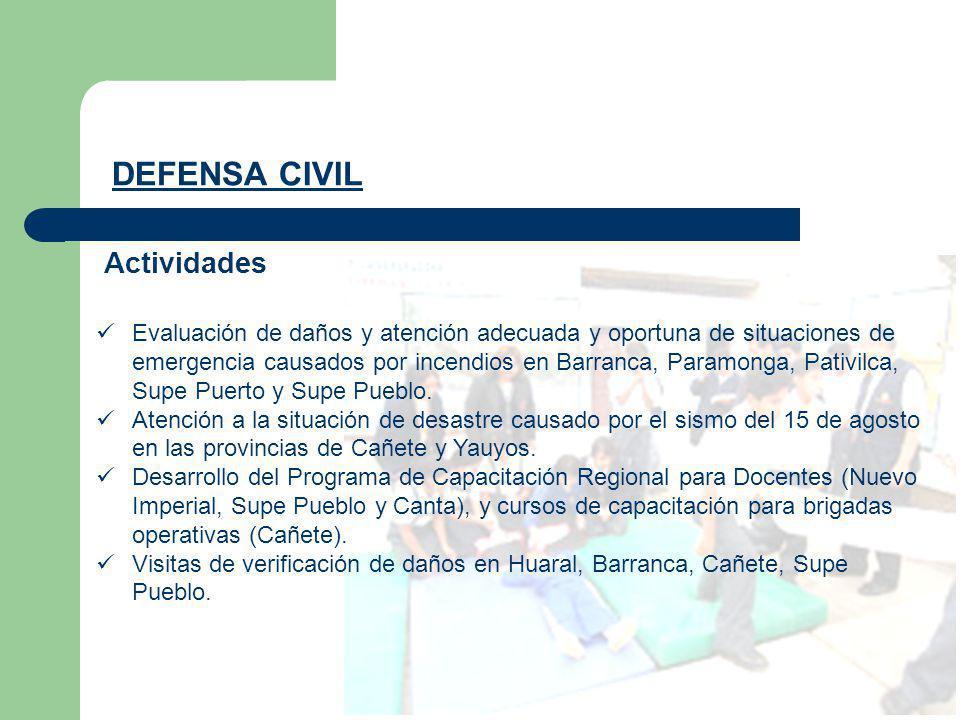 DEFENSA CIVIL Evaluación de daños y atención adecuada y oportuna de situaciones de emergencia causados por incendios en Barranca, Paramonga, Pativilca