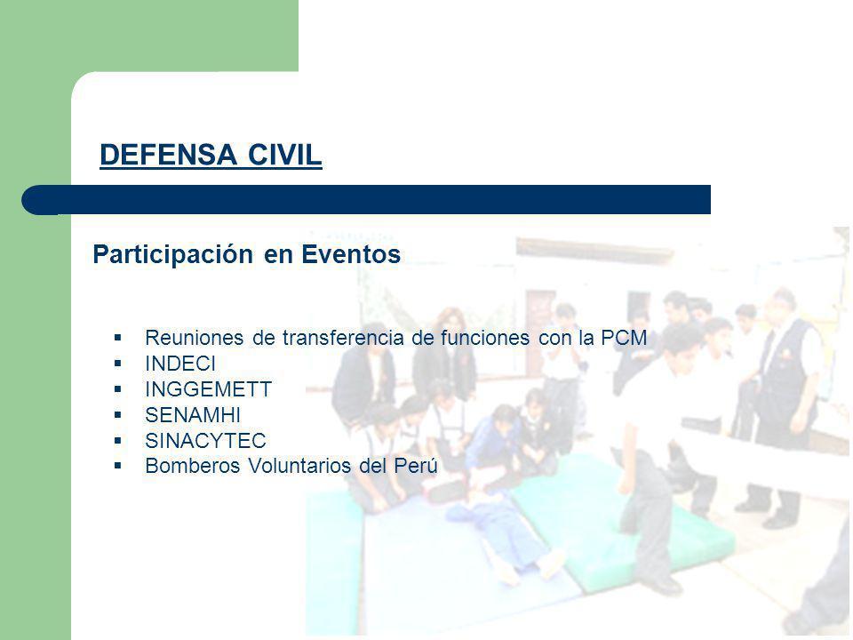 Participación en Eventos DEFENSA CIVIL Reuniones de transferencia de funciones con la PCM INDECI INGGEMETT SENAMHI SINACYTEC Bomberos Voluntarios del
