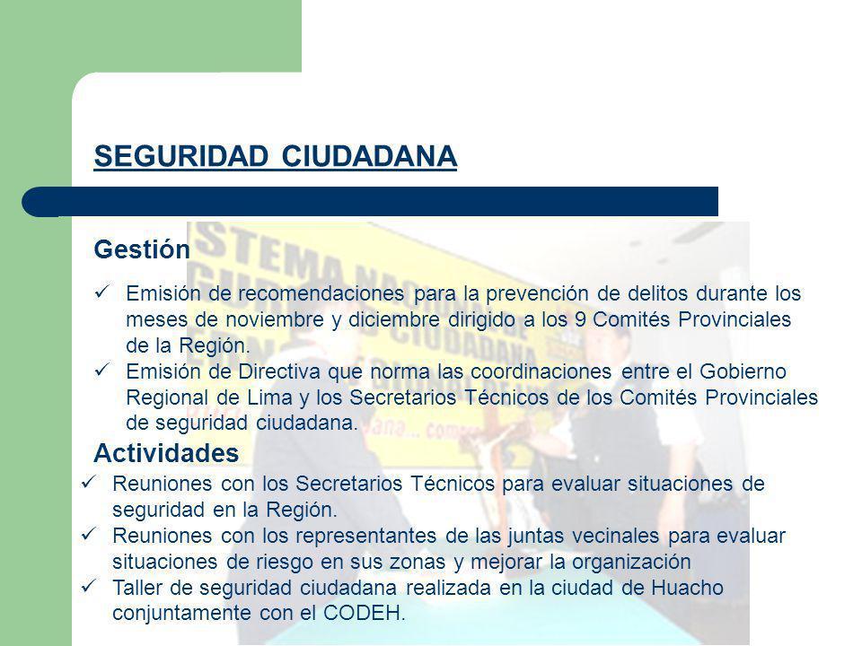 Gestión SEGURIDAD CIUDADANA Emisión de recomendaciones para la prevención de delitos durante los meses de noviembre y diciembre dirigido a los 9 Comit