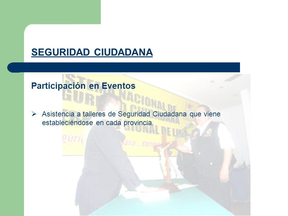 Participación en Eventos SEGURIDAD CIUDADANA Asistencia a talleres de Seguridad Ciudadana que viene estableciéndose en cada provincia.
