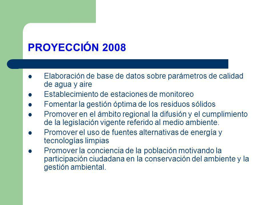 PROYECCIÓN 2008 Elaboración de base de datos sobre parámetros de calidad de agua y aire Establecimiento de estaciones de monitoreo Fomentar la gestión